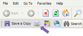 An instructional image with an arrow pointing to print button in the Adobe Reader plugin for Internet Explorer